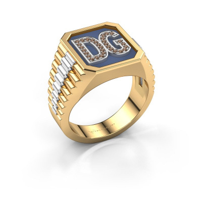 Signet ring Mike 585 gold brown diamond 0.005 crt