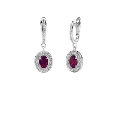Picture of Drop earrings Layne 2 585 white gold rhodolite 7x5 mm