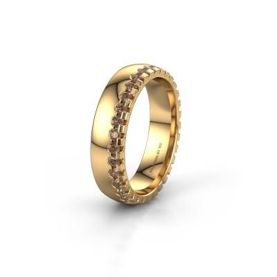 Wedding ring WH6122L25B 375 gold brown diamond ±5x2 mm