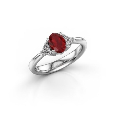 Picture of Engagement ring Aleida OVL 1 950 platinum ruby 7x5 mm