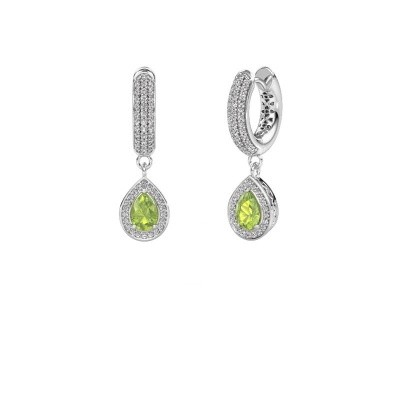 Picture of Drop earrings Barbar 2 375 white gold peridot 6x4 mm