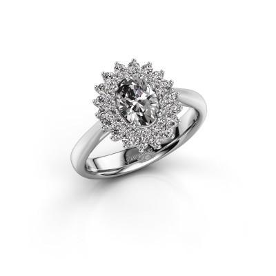 Engagement ring Alina 1 585 white gold zirconia 7x5 mm