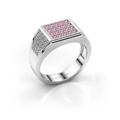 Foto van Heren ring Tim 925 zilver roze saffier 1.5 mm