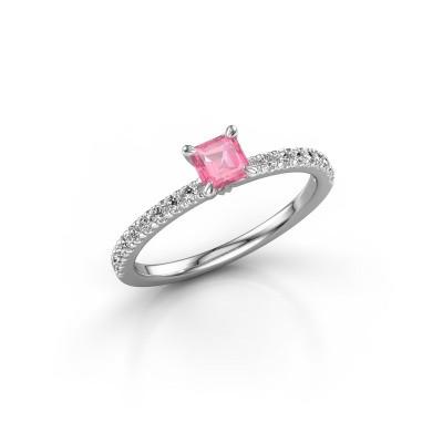 Verlobungsring Crystal ASS 2 925 Silber Pink Saphir 4.5 mm