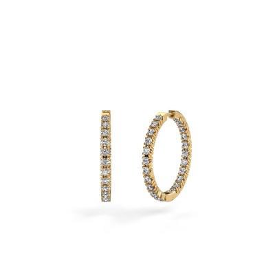 Picture of Hoop earrings Miki 20mm 375 gold zirconia 2 mm