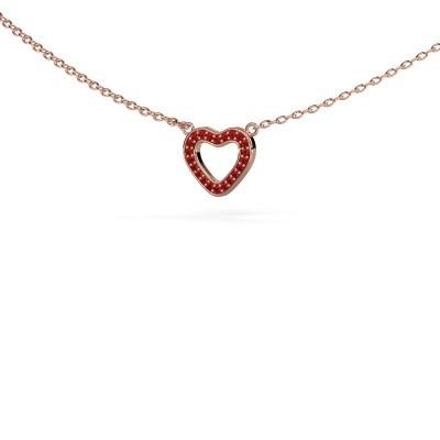 Hanger Heart 4 375 rosé goud robijn 0.8 mm