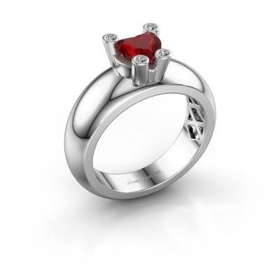 Ring Cornelia Heart 925 Silber Rubin 6 mm