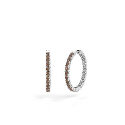 Foto van Creolen Miki 20mm 585 witgoud bruine diamant 1.38 crt