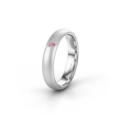 Trouwring WH0176L34AP 950 platina roze saffier ±4x1.7 mm