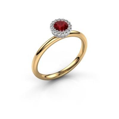 Verlovingsring Queen 585 goud robijn 4.2 mm