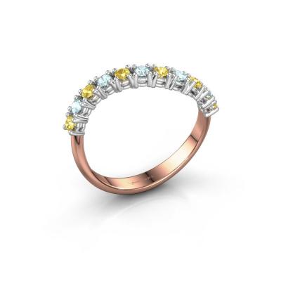 Ring Eliza 585 rosé goud gele saffier 2 mm