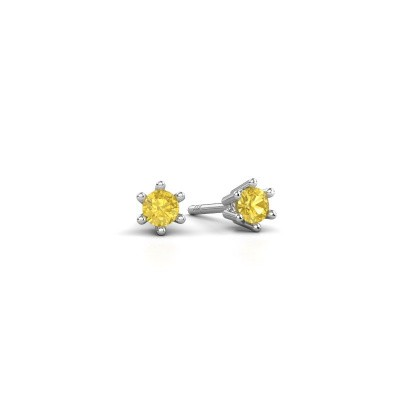 Picture of Earrings Fay 950 platinum yellow sapphire 3.4 mm