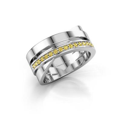 Ring Yolando 585 white gold yellow sapphire 1.3 mm