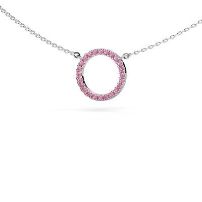 Foto van Hanger Circle 585 witgoud roze saffier 1.2 mm