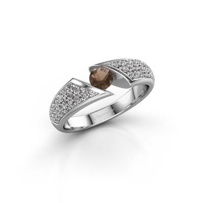 Engagement ring Hojalien 3 585 white gold smokey quartz 4.2 mm