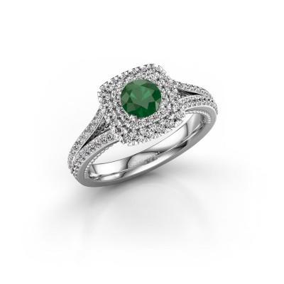 Foto van Verlovingsring Annette 585 witgoud smaragd 5 mm
