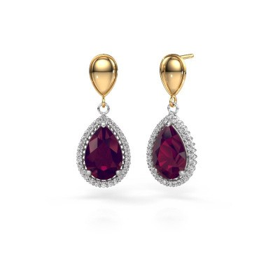 Picture of Drop earrings Tilly per 1 585 white gold rhodolite 12x8 mm