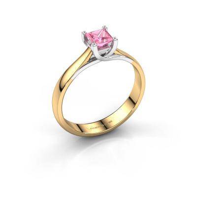 Verlobungsring Mia Square 585 Gold Pink Saphir 4 mm