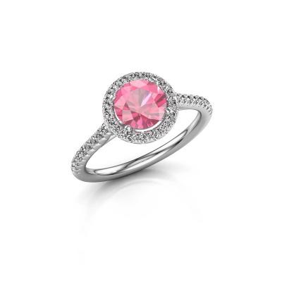 Foto van Verlovingsring Seline rnd 2 950 platina roze saffier 6.5 mm
