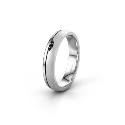 Trouwring WH0334L24X 950 platina zwarte diamant ±4x1.5 mm