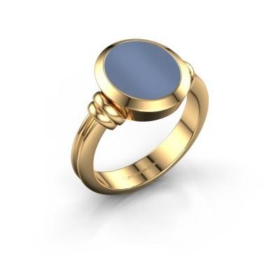 Zegelring Jake 2 F 585 goud licht blauwe lagensteen 12x10 mm