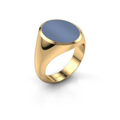 Signet ring Herman 6 585 gold light blue sardonyx 16x13 mm