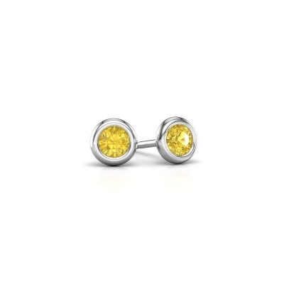Picture of Stud earrings Lieke RND 925 silver yellow sapphire 4 mm
