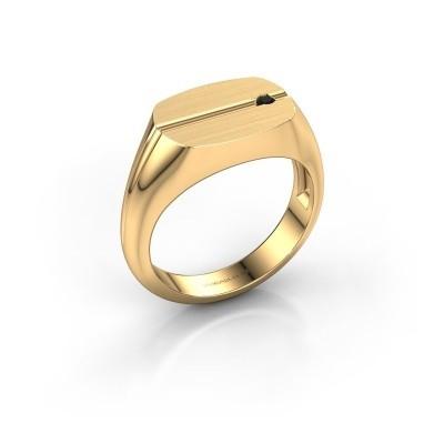 Foto van Herenring Stijn 585 goud zwarte diamant 0.036 crt