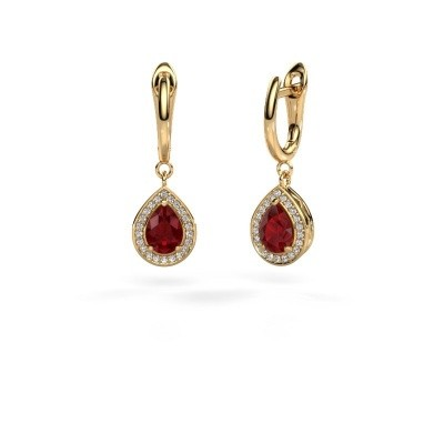 Drop earrings Ginger 1 585 gold ruby 7x5 mm
