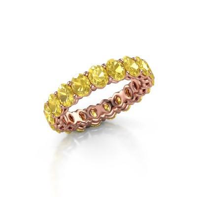 Aanschuifring Heddy OVL 3.5x4.5 375 rosé goud gele saffier 4.5x3.5 mm