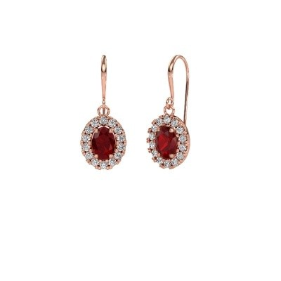 Drop earrings Jorinda 1 375 rose gold ruby 7x5 mm