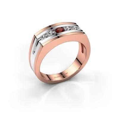 Foto van Heren ring Huub 585 rosé goud granaat 3.7 mm
