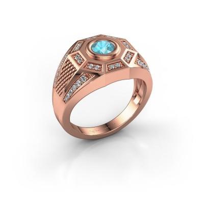 Heren ring Enzo 375 rosé goud blauw topaas 5 mm