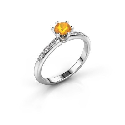 Photo de Bague de fiançailles Tiffy 2 585 or blanc citrine 4.7 mm