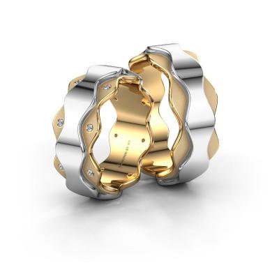 Foto van Huwelijksringen set WH2033LM17DP ±7x2.4 mm 14 karaat goud diamant 0.008 crt