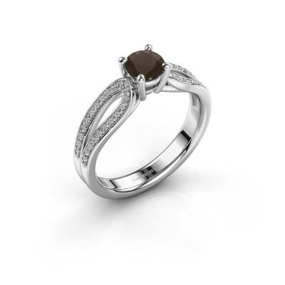 Engagement ring Antonia 2 925 silver smokey quartz 5 mm