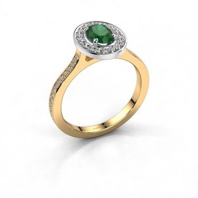 Ring Madelon 2 585 goud smaragd 7x5 mm