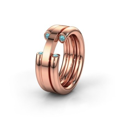 Wedding ring WH6018L 585 rose gold blue topaz ±8x3 mm