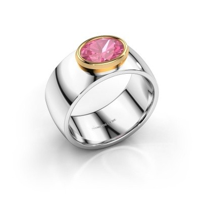 Ring Wilma 1 585 witgoud roze saffier 8x6 mm