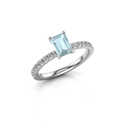 Picture of Engagement ring Crystal EME 2 585 white gold aquamarine 6.5x4.5 mm