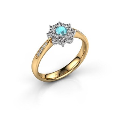 Verlobungsring Carolyn 2 585 Gold Blau Topas 3.4 mm