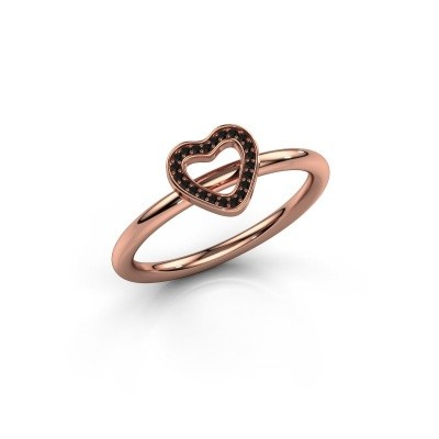 Ring Shape heart small 375 rosé goud zwarte diamant 0.066 crt
