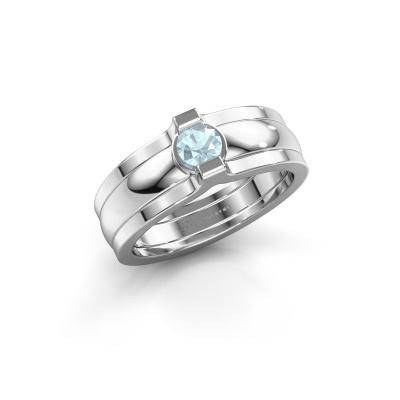 Ring Jade 925 Silber Aquamarin 4 mm