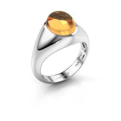 Ring Zaza 585 witgoud citrien 10x8 mm