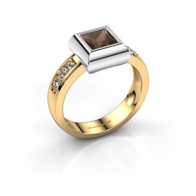 Ring Charlotte Square 585 gold smokey quartz 5 mm