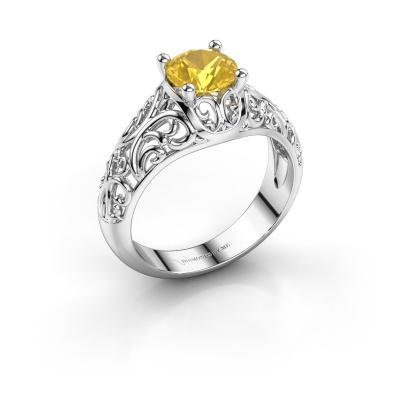 Ring Mirte 925 zilver gele saffier 6.5 mm