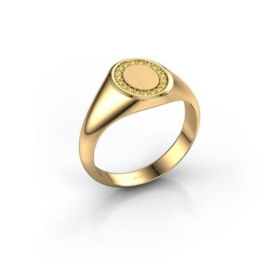 Foto van Zegelring Rosy Oval 1 585 goud gele saffier 1.2 mm