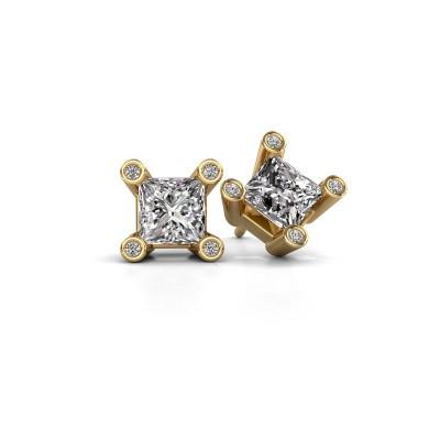 Foto van Oorstekers Cornelia Square 375 goud diamant 1.30 crt