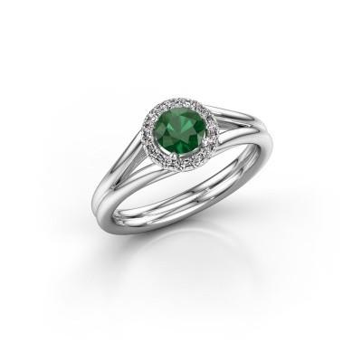 Foto van Verlovingsring Verla 1 585 witgoud smaragd 4.7 mm