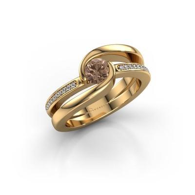 Foto van Ring Xenia 2 585 goud bruine diamant 0.60 crt